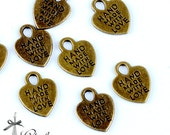 30pcs 15x12mm Antique Bronze Hand Made With Love Heart Charm / Pendant-(HAB-254)