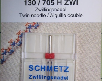 Schmetz 130/705 H ZWI Zwillingsnadel Twin needle. For tucks and or one or two colors.