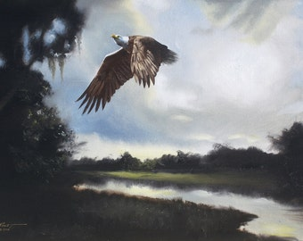 EAGLE painting by RUSTY RUST wildlife bird 24x36 oils on canvas / E-184