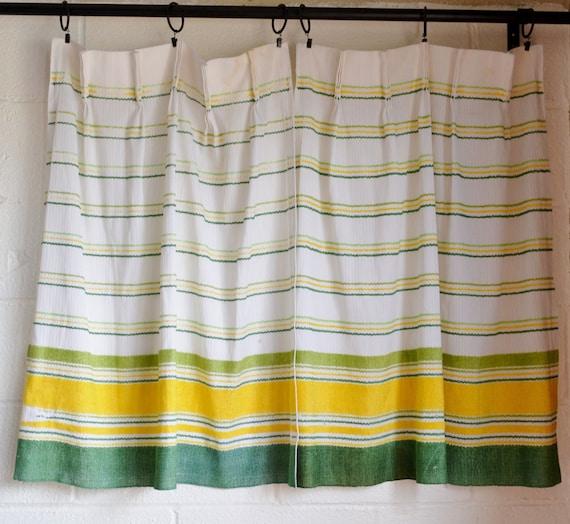 Vintage Curtain Panels 1970s Retro Kitchen Curtains White