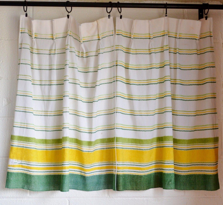 White Vintage Kitchen Curtains: Vintage Curtain Panels 1970s Retro Kitchen Curtains White