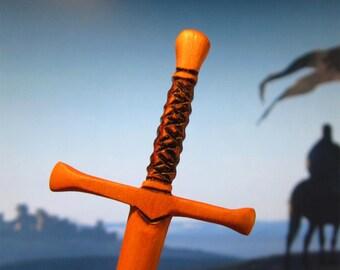 Hair Stick - Fantasy Sword 6 in  Cherry Wood
