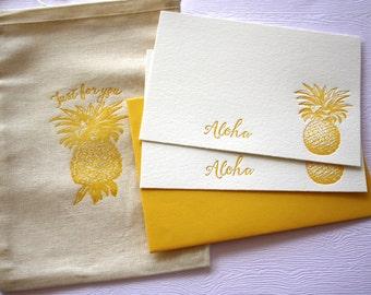 Sunny Gold Pineapple Letterpress Stationery Aloha Mahalo with Cotton Muslin Bag