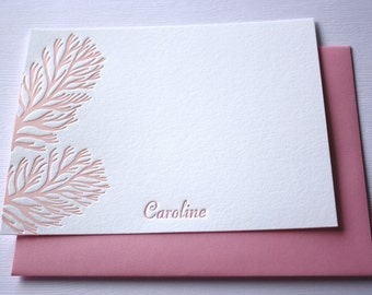 Personalized Letterpress Stationery Ocean Coral Pink
