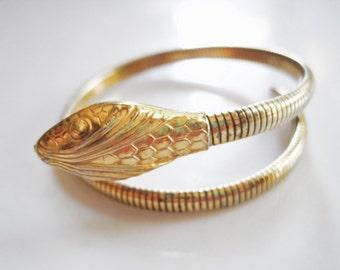 Forstner Snake Bracelet, Vintage Single Coil Vermeil Sterling Serpent Bangle