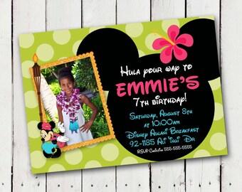 Luau Minnie Mouse Custom photo Birthday Invitations