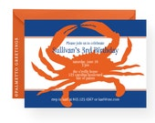 PRINTABLE - Birthday Party Invitation with beach theme crab (Seashore friends - crab) Available in any color