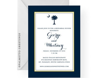 South Carolina Palmetto Moon Rehearsal Dinner, Birthday, Anniversary, Dinner Party Invitation - Custom colors and all custom text