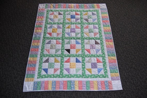 30 S Playtime Patchwork Quilt Hand Quilted Throw Size