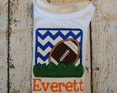 Football box with grass Embroidered Boy's Shirt or body suit