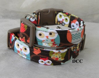 Dog Collar Classic Owl Collection Assortment Leaves Dots CHOOSE SIZE  Adjustable D Ring Handmade Pets Accessory Collar