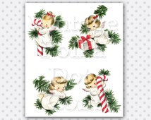 Clip Art Christmas Vintage Angels Candy Cane Present Angel Tree Collage Sheet Printable Retro Christmas Graphics Digital Instant Download