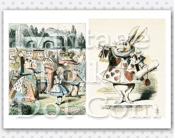 Clip Art Alice In Wonderland Through the Looking Glass Colored Engravings Collage Art Digital Printable White Rabbit Queen of Hearts