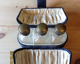 FRENCH Trio of Perfume Bottles in Leather Etui c 1920
