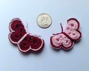 Crochet butterfly appliqué ( 2 butterflies )
