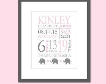"Pink and Grey Nursery Birth Stats Wall Art Birth Announcement Print Baby Birthdate Print Elephant Nursery Baby Girl Gift ANY COLORS 8""x10"""