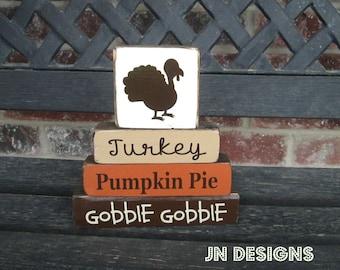 "Summer SALE--Thanksgiving ""MINI"" stacker--Turkey...pumpkin pie... gobble gobble"