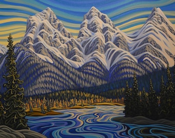 Three Sisters Canmore, 8X10, art print, canadian artist, ready to frame