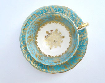 Vintage Aynsley Tea Cup and Saucer Set, Turquoise w Gold Snowflake Medallion, Vintage Teacup & Saucer, Aynsley Heavy Gold Gilt Teacup Set