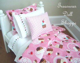 18 Inch Doll Bedding Set for 18 Inch Sized Dolls  - Cupcakes, Cupcakes