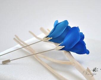Princess blue - Royal blue - Rose Lapel pin - Wedding Boutonniere - Men's lapel flower - Jewelry pin - Stick pin