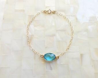 Step Cut Faceted Caribbean Blue Quartz Vermeil Bezel Oval Connector on Gold Chain Bracelet (B1167)