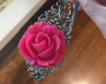 Fuchsia Rose Flower on Antique Silver Headband