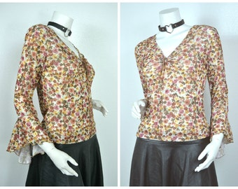 90s 70s style floral grunge keyhole  peasant butterfly sleeve blouse M medium