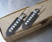Tin Tribal Earrings- Vintage Tin- Urban Industrial-Lightweight-Silver Ear wires