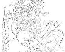 Mermaid Coloring Page - Adult Coloring Page - Mermaid - Mermaid DIY - Mermaid Decor - Mermaid Art - Coloring Page - Kids Coloring
