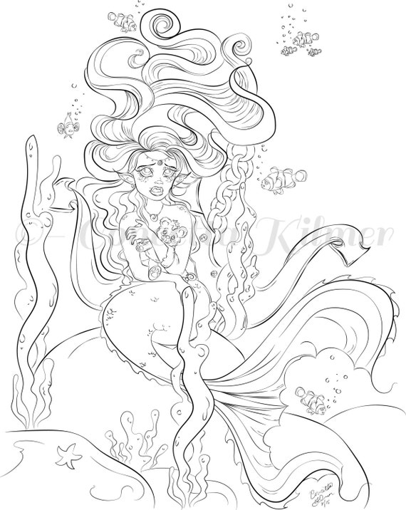 mermaid coloring page adult coloring page mermaid mermaid diy mermaid decor - Mermaid Coloring Pages Adults