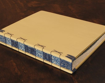 Wood Journal or Guest Book -  wedding guestbook  anniversary birthday Lemon Yellow royal blue spring summer rustic wedding   - ready to ship