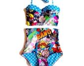 Comic Pop Art Bam! Extra High Waist Underwire Bustier Bikini - Retro Swimsuit - XS-XXL - Plus Size Swimwear - Blue Polka Dot