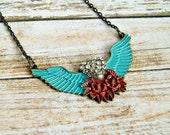 winged heart brass pendant necklace, rhinestone, red aqua, rockabilly, statement necklace