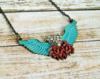 winged heart brass pendant necklace, rhinestone, red aqua, rockabilly, statement necklace