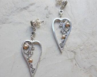Silver Gold Earrings, Heart Earrings, Filigree Earrings, Mixed Metals Earrings, Dangle Earrings, In My Heart Earrings, Silver Earrings