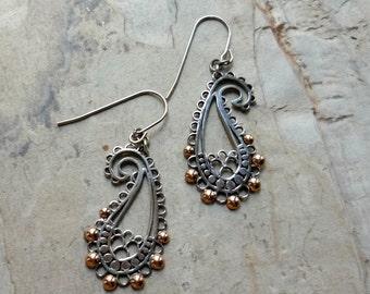 Paisley Earrings, Sterling Silver Gold Earrings, Silver Dangle Earrings, Filigree Earrings, Delicate Earrings, Boho Chic paisley Earrings