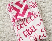 CUSTOM NAME Minky Blanket Double sided  - 4 options of chevron color for the back