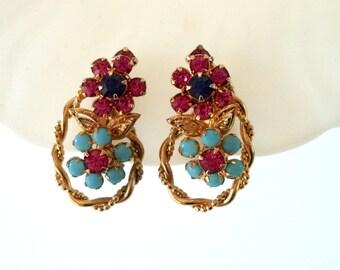Vintage Unsigned Ciner Clip On Earrings Gold Tone Ruby Rhinestones Turquoise Cabochons Dark Blue Rhinestones
