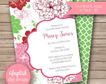 Floral Bridal Shower Invite, Printable Floral Bridal Shower Invitation, Flower Bridal Shower Invite - Sweet Blooms in Red, Pink, Green