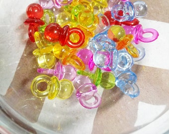 Pacifier Charms Baby Charms Baby Shower Favors Assorted Colors Acrylic 20 pieces
