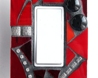 Romanting Red - Crimson Single Mosaic Rocker Light Switch Cover GFCI Outlet Wall Plate