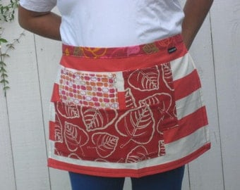 Red striped half apron, heavy canvas,three large pockets, bistro, gardener, teacher
