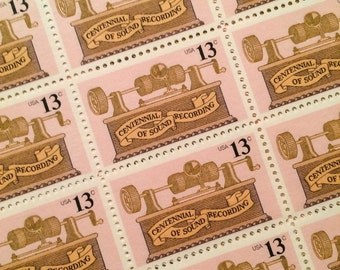 Set of 10 Pink Sound Recording 13c unused postage stamp from 1977