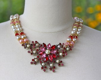 Statement Necklace, Vintage Rhinestone Brooch, Pink, Red, White, Pearl, Ruby, Gold, Multi-Strand, Jennifer Jones, OOAK - Strawberry Fields