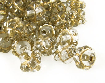 Czech Glass Beads, 8mm, Crystal and Gold Antique Rondelle,  Qty :20