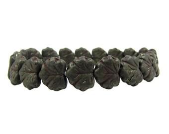 Czech  Glass Maple Leaf Beads, 10x13mm, Dark Bronze, Qty: 10
