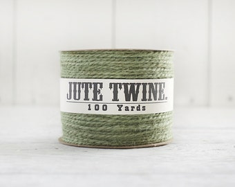 Jute Twine - 100 Yard Spool of Twine, 2-Ply Rustic Craft String, Moss Green