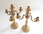 Pair French Antique Candelabra Matched Pair in Brass