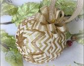 Gold Chevron Christmas Ornament Decoration fabric ornament